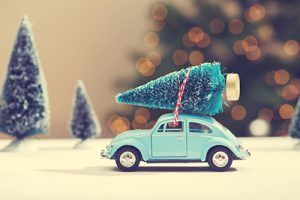 Car carrying a Christmas tree in a miniature evergreen forest | Staying Safe While Traveling for the Holidays