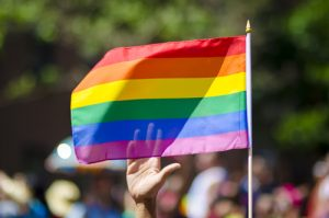 rainbow flag being held at a pride parade | Sexual Assault Survivors Attorneys