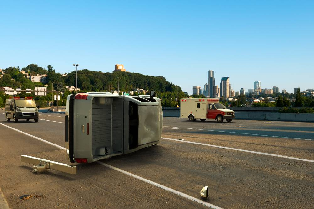 pickup truck tipped over in a highway | two-vehicle rollover accident in aurora