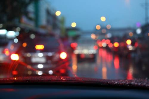 traffic jam on a night road during a rainy weather | fatal accident in thornton on i-25