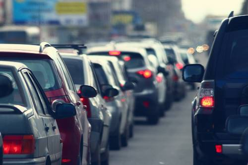 traffic jams in a city road during a rush hour   multiple vehicular accidents on interstate 25