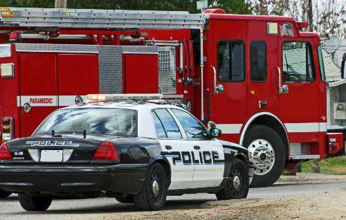 Police and Fire truck on the scene of an accident | head-on collision in aurora